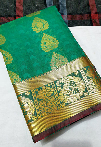 ART SILK TRADITIONAL AND FANCY BORDER GREEN SAREE