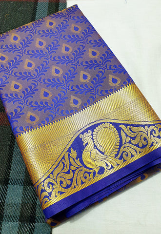 ART SILK BLUE SAREE WITH PEACOCK WAVES BORDER