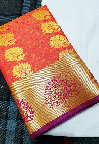 ART SILK SAREE GOLD MIX RED COLOR AND TREE BORDER