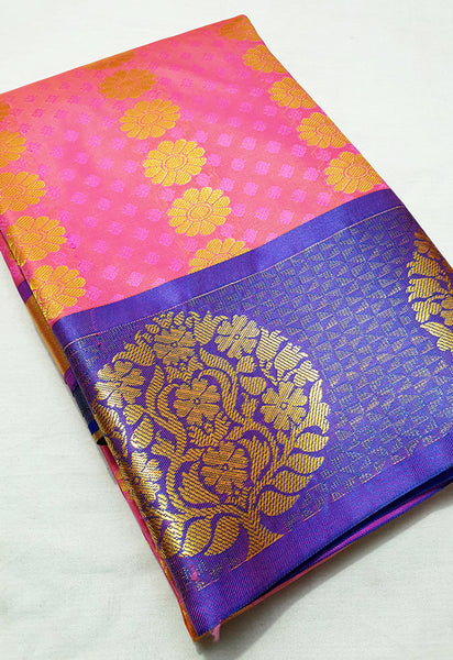 ART SILK PINK SAREE WITH BLUE CONTRAST TREE BORDER