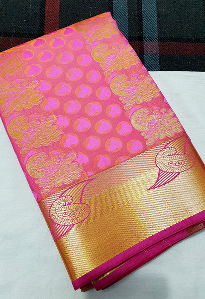 ART SILK PINK TRADITIONAL BORDER WITH PUTTA