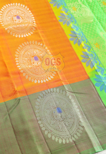 ORANGE AND GREEN COLOR WEDDING SALEM SILK