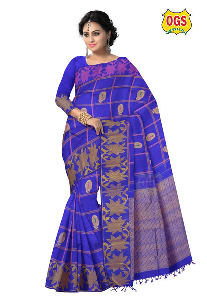 WEDDING PURE SILK BLUE KATTAM SAREE V - 143