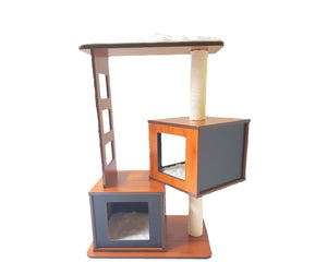 Wooden Cat Tower--Double boxes