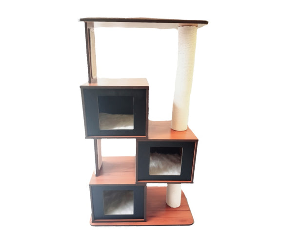 Wooden Cat Tower--Triple boxes