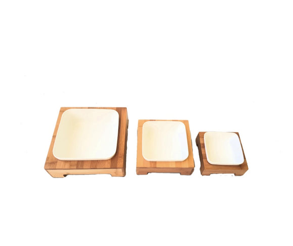 Single Square Bamboo Feeder with Melamine bowl