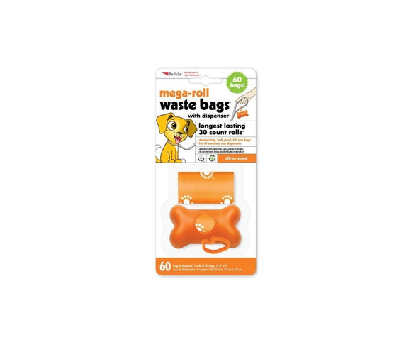 Petkin MEGA-ROLL Citrus scented Waste Bags - 60 pcs with dispenser