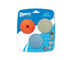 "Chuckit! FETCH MEDLEY BALLS 2.5"" (6cm) Assortment of 3"