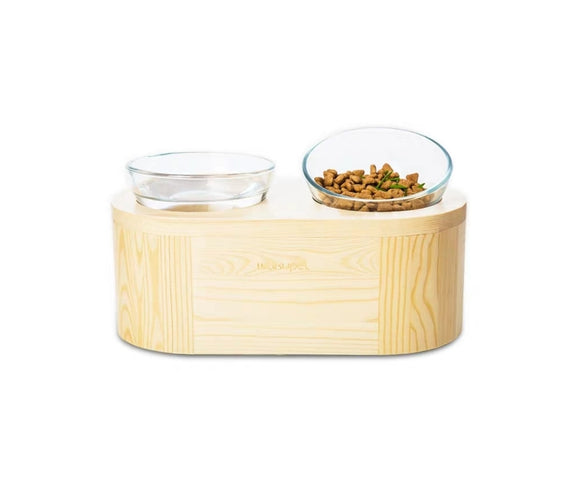 Wakupet Double Glass Bowls Raised Wooden Feeder