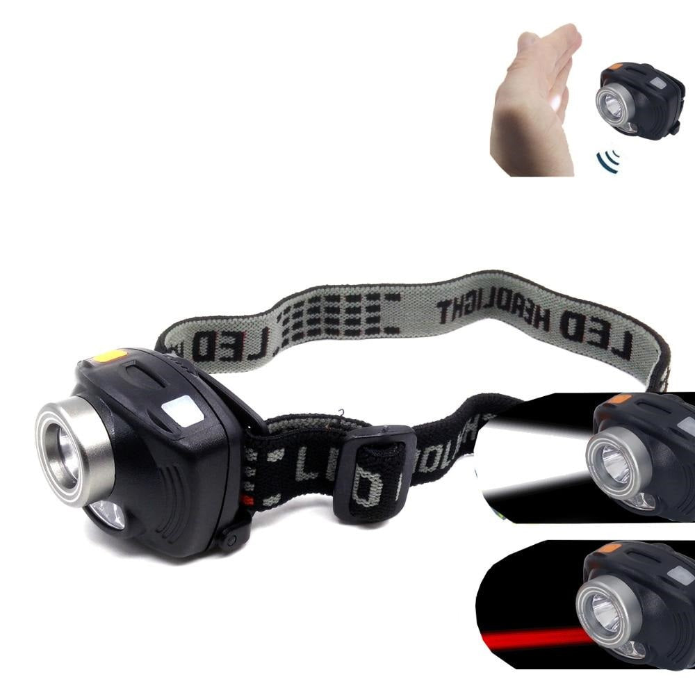 Inductive Headlight 3 Mode +2 Red LED Infrared Sensors Headlamp