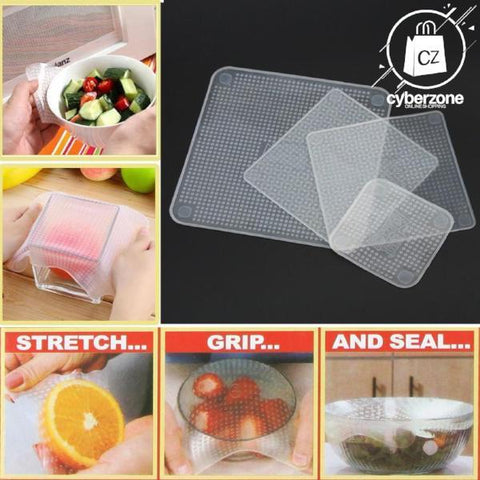 4 Pcs Reusable Stretchable Silicone Food Wraps - Cyber Zone Online