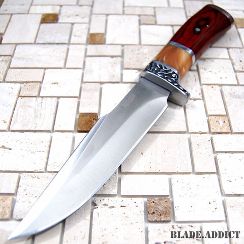 "Image of 10.5"" Stainless Steel Survival Skinning Hunting Knife Wood Handle Bowie Knife"