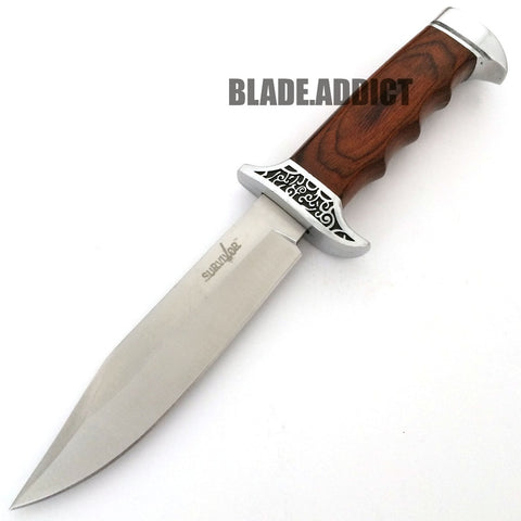 "Image of 10"" Full Tang Wood Fixed Blade Bowie Knife"