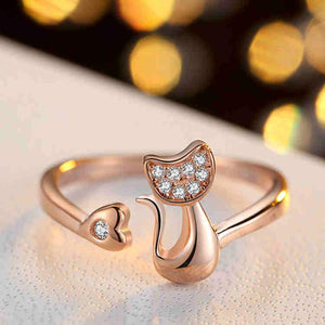 Rose Gold Color Cat Shape Adjustable Ring - Cyber Zone Online