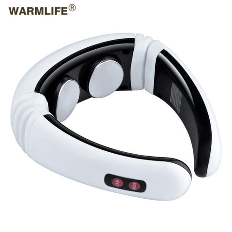 Image of Electric pulse back and neck massager far infrared heating pain relief tool healthcare relaxation