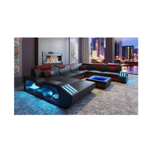 Modern Italian Leather Couch With Beautiful LED Lights