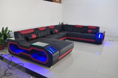 Image of Modern Italian Leather Couch With Beautiful LED Lights
