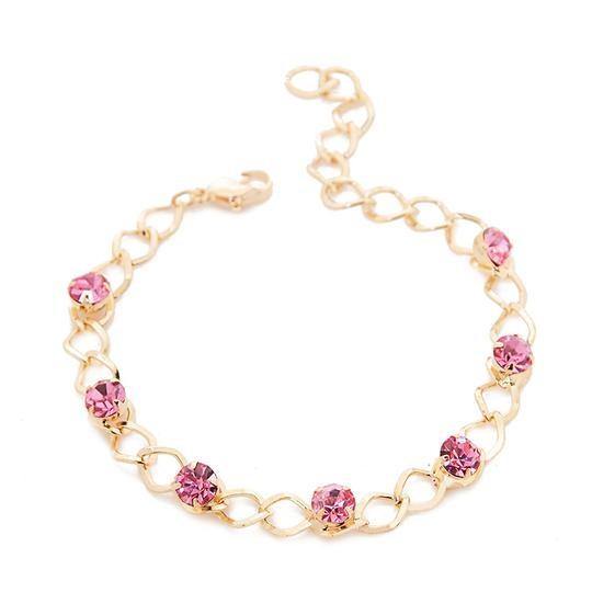Pink Crystal Beads Chain Bracelet - Cyber Zone Online