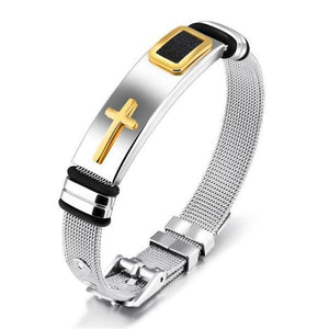 Gold-Color Cross Bracelet For Men Women Stainless Steel - Cyber Zone Online