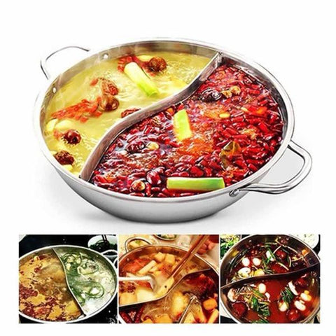 Hot Pot Twin Divided Stainless Steel 28cm Cookware Induction - Cyber Zone Online