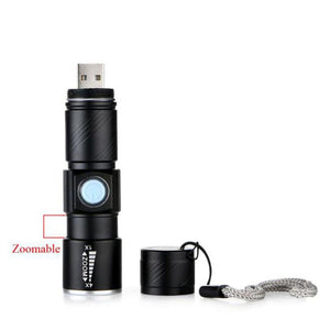 LED Zoom 3000LM MINI USB Rechargeable Flashlight