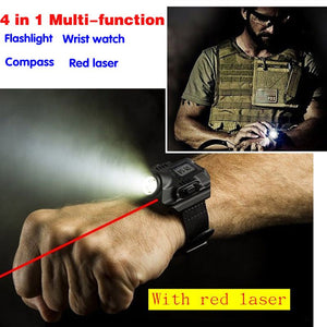 Multi-functional Waterproof USB Charging LED Wrist Watch Torch with Red Laser