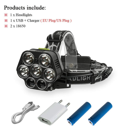 Image of 20000LM High Power 6 LED Head Torch