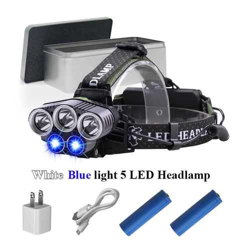 Image of Rechargeable 5 led Headlight - Blue and White Light