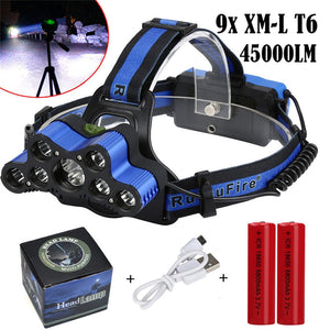 New Super 45000 LM LED Rechargeable Headlamp