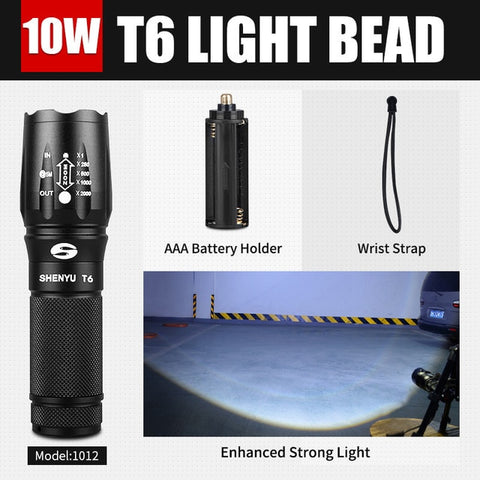 Image of LED Flashlight 600 LM Zoomable Portable Camping Light