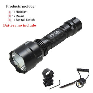 Tactical Flashlight White/Green/Red + Pressure Switch Mount