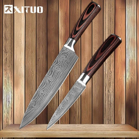 Image of XITUO Kitchen Knives Damascus Veins Stainless Steel Knives Color Wood Handle Paring Utility Santoku Slicing Chef Cooking Knife