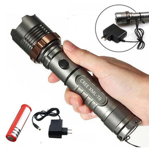 8000lm  T6 LED Flashlight Torch Rechargeable Lantern Hunting FlashLight  for 18650/AAA battery free gift