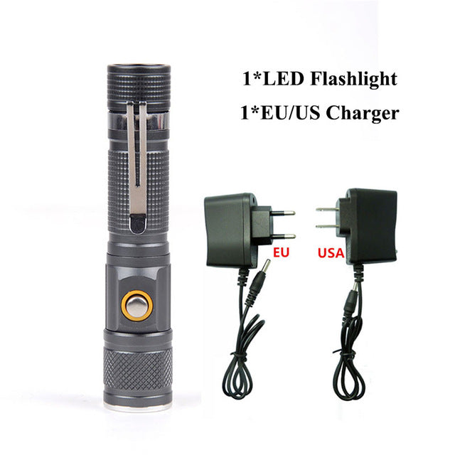 3800Lm Tactical Handheld Portable LED Flashlight Zoomable  T6 Torch 18650 Battery Direct Charging LED Flashlight 52