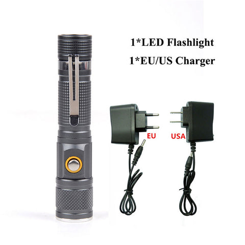 Image of 3800Lm Tactical Handheld Portable LED Flashlight Zoomable  T6 Torch 18650 Battery Direct Charging LED Flashlight 52