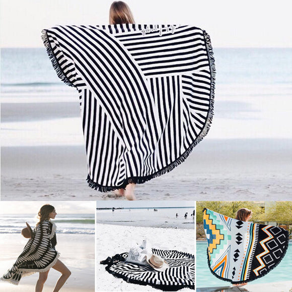 150x150cm Bohemian Style Thin Tassel Beach Towel Round Silk Scarf Bed Sheet Tapestry - TriggerKart