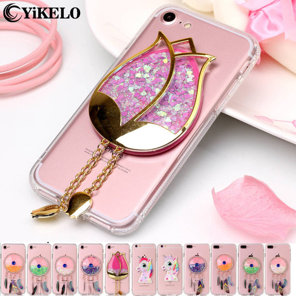 3D Dynamic Liquid Rose Flower Soft Clear Phone Case For iPhone 7