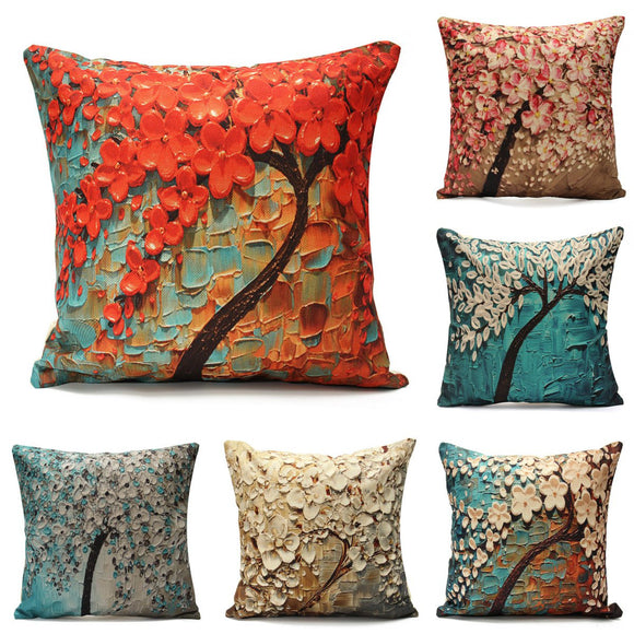 SOFO 3D Tree Flower Cushion Cover Cotton Linen Pillow Case