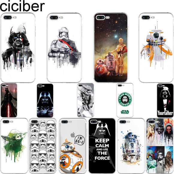 R2D2 BB8 Star Wars Coffee Stormtrooper Darth VaderPhone Covers For  iPhone 7 6S 6 8 plus 5S SE X