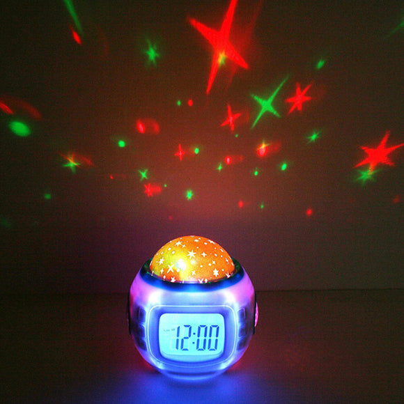 Loskii DX-007 Music Star Sky Digital Clock Led Projector Alarm Clock Calendar Colorful Night Light