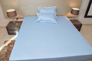 Exquisite Sky Blue Plain Bedsheet Set With White Lace  On  Pillow Covers