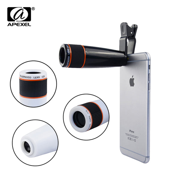 Phone Lens Universal Clip 12X Telephoto Lens Mobile Phone Optical Zoom Telescope Camera For iPhone Sumgung HTC xiaomi APL-12XSJ