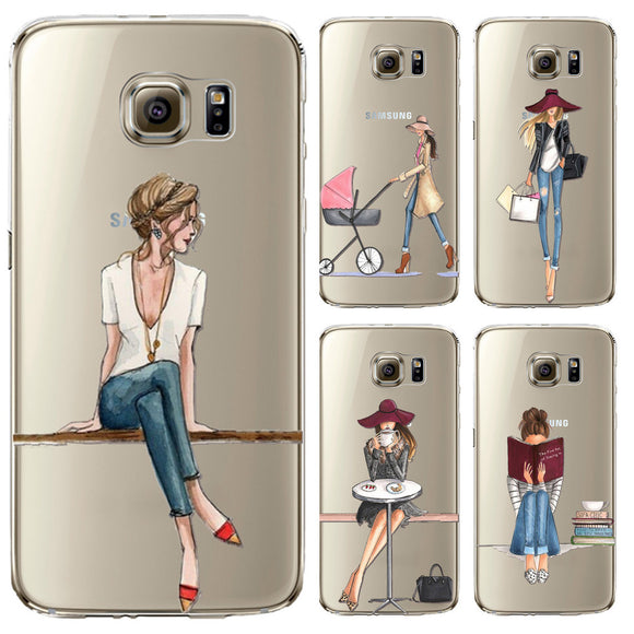 Samsung Galaxy S5 S6 S6Edge S6Edge+ S7 S7edge Painted Fashion Shopping Girl Mobile Phone Case