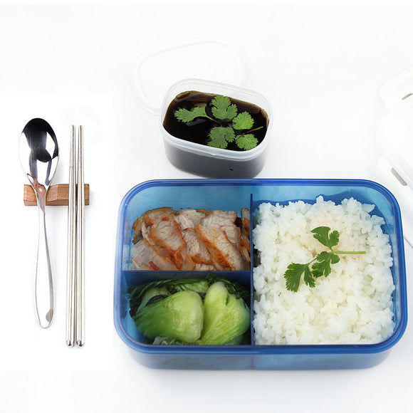 Hot Selling Modern Ecofriendly Outdoor Portable Microwave Lunch Box with Soup Bowl Chopsticks Spoon