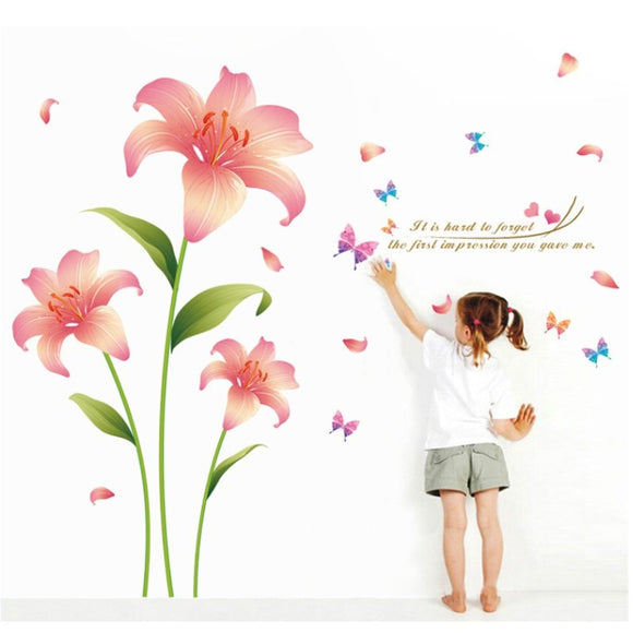 3D Blossom Flowers Wall Stickers PVC Removable Decals Mural Art Wall Sticker DIY Home Decoration