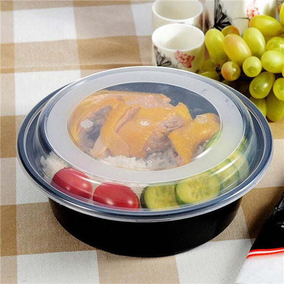900ml Black Box Single Disposable Lunch Box with Transparent Lid Lunch Container