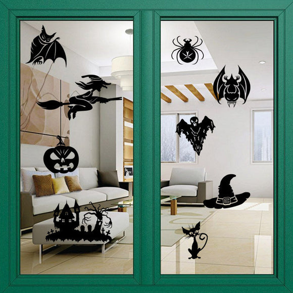 Halloween Series Witch Carved Wall Stickers Can Remove Water