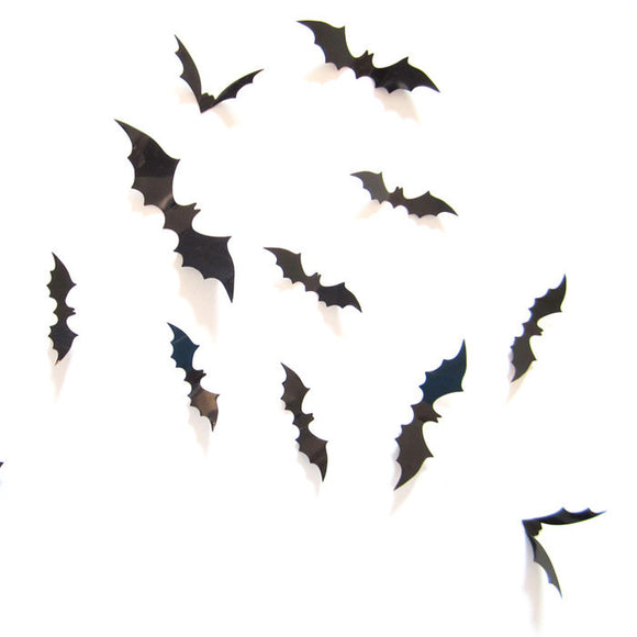 12pcs Halloween Stereo Bat Butterfly Carved Wall Stickers