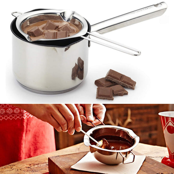 Stainless Steel Chocolate Butter Melting Pot Pan Bowl Milk Pouring Kitchen Tool