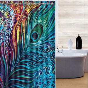 150x180cm Peacock Feather Theme Waterproof Shower Curtain - TriggerKart